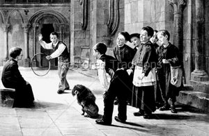 Altar Servers Playing with Dog