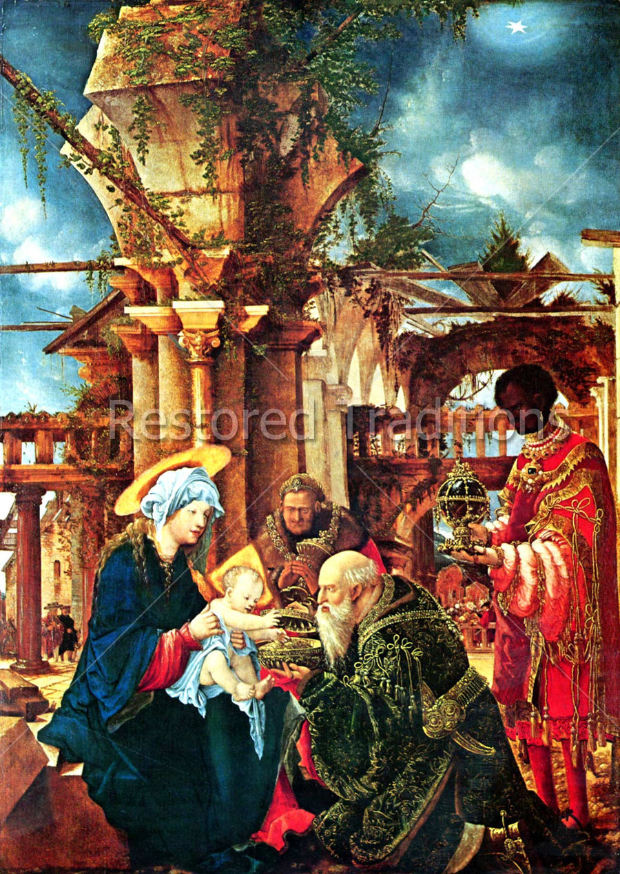 Kings Present Christ Child With Gifts