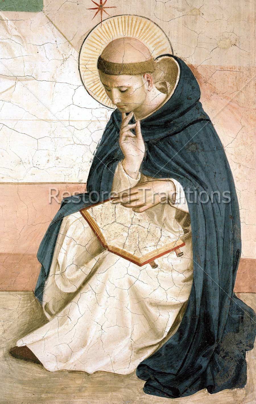 Saint Dominic reading a book