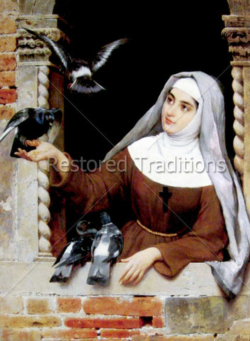 Catholic Nun Holding Bird