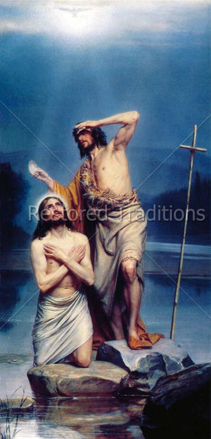 John the Baptist and Christ in River Jordan.
