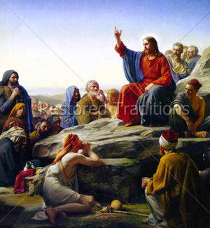 Christ teaching Eight Beatitudes on hill