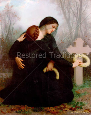 Two Women Dressed in Black Comfort Each Other Beside a Grave Cross
