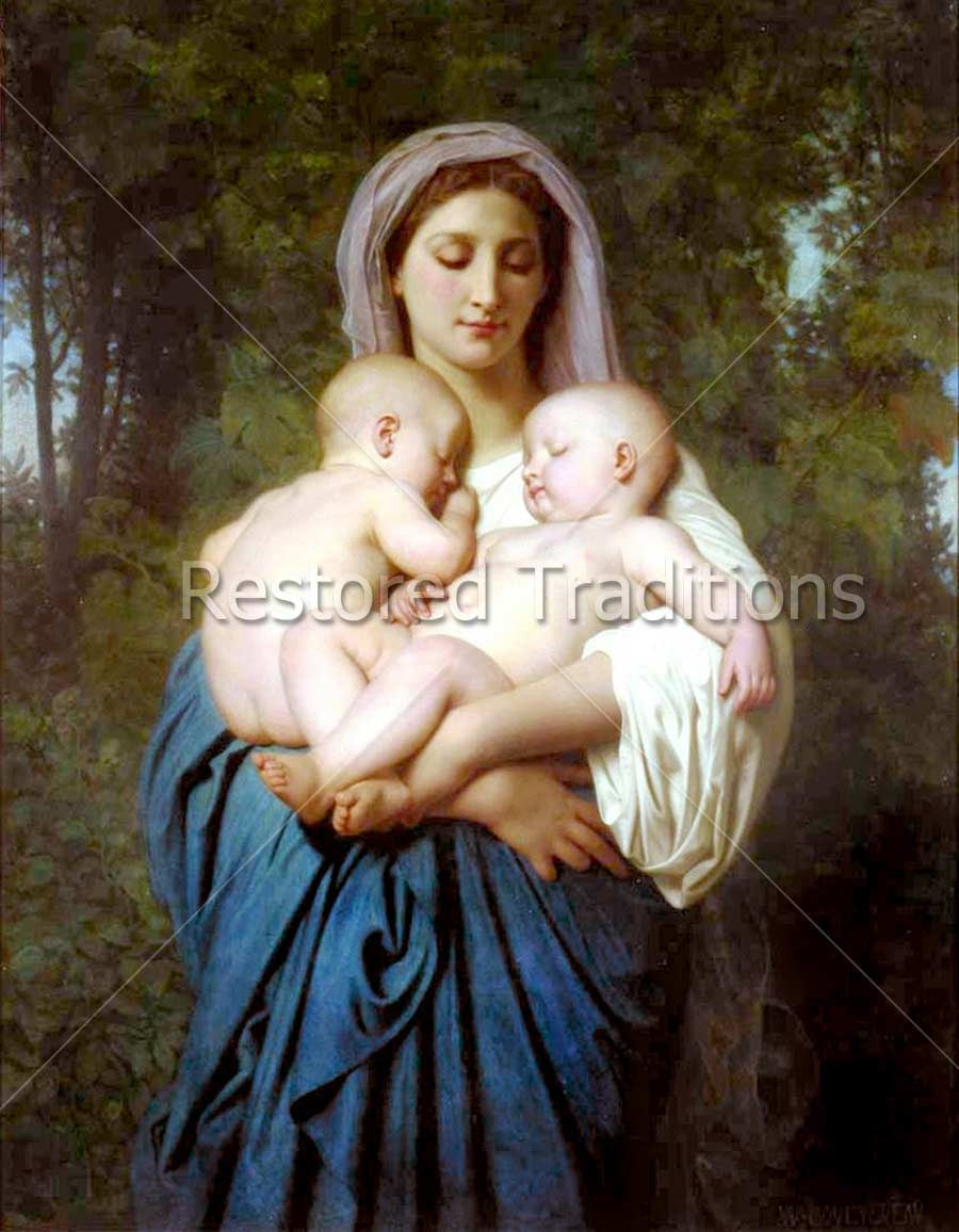 Woman Holding Two Infants
