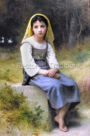 Young Girl Sitting in Field