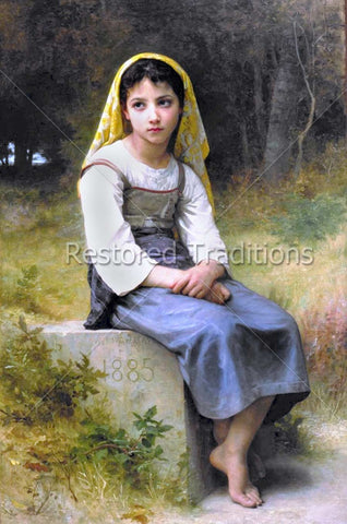 Young Girl Praying in Field