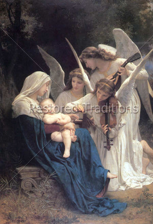 Angels play music for Mary and Baby Jesus