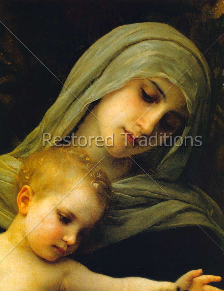 faces of Blessed Mother and Christ