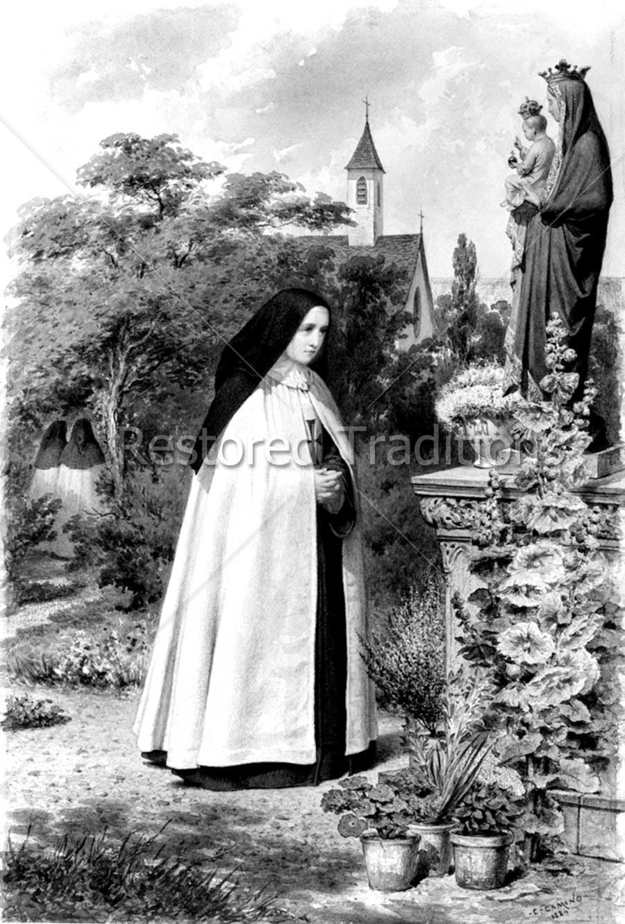 Nun Praying Before Madonna Statue