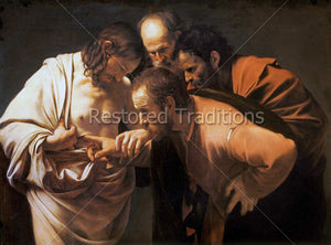 doubting apostle putting finger in side of Christ