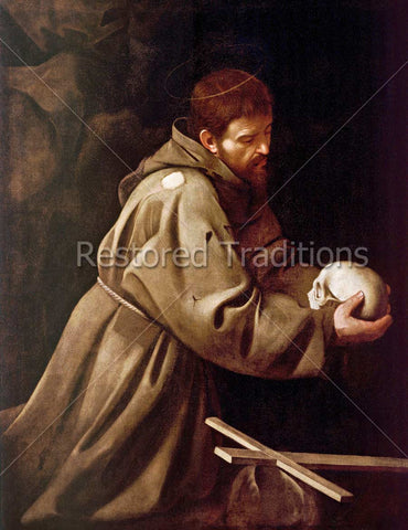 Francis Assisi Holding Skull and Praying