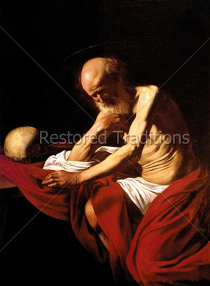 Emaciated man praying with skull