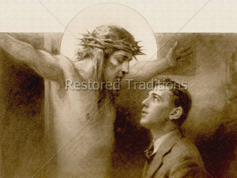 Man Praying to Christ on Cross