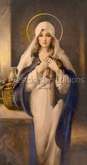 Virgin Mary Holding Coat of Jesus