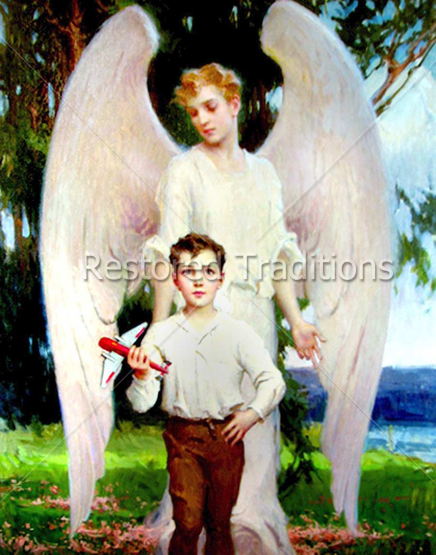 angel with boy holding toy airplane