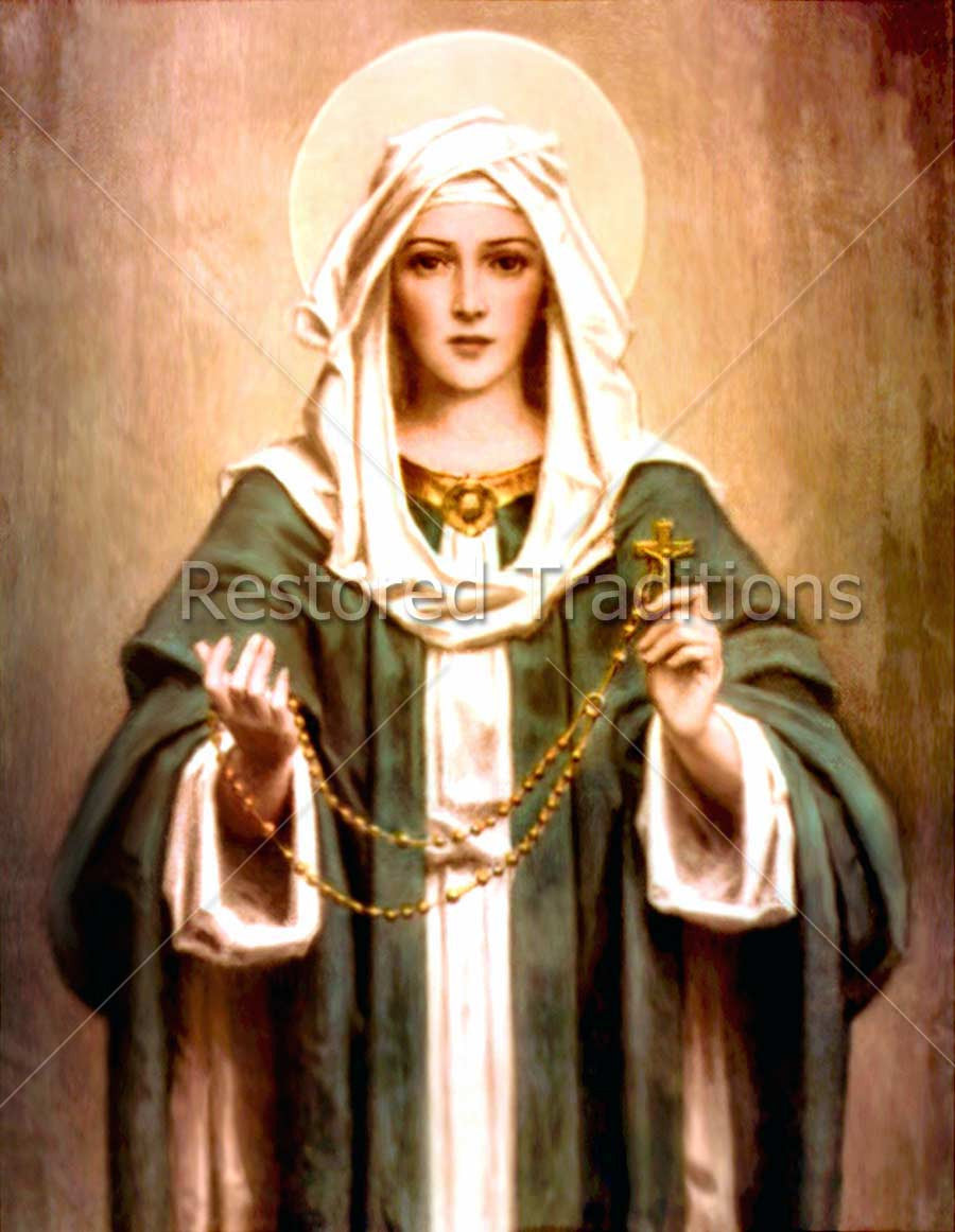 Virgin Mary Holding Rosary