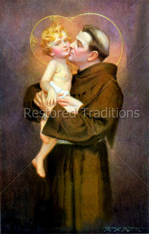 Franciscan saint holding Christ Child