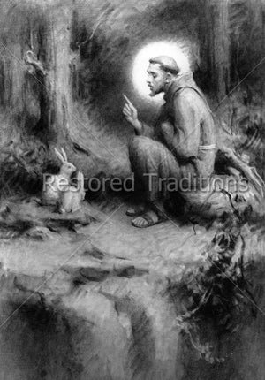 Saint Francis with rabbits in forest