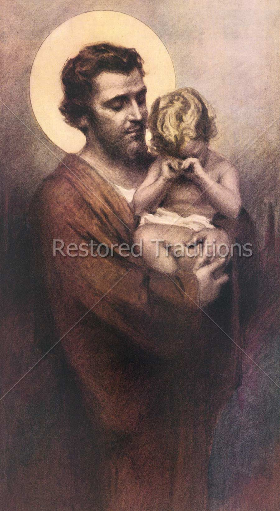 Joseph holds weeping Child Jesus