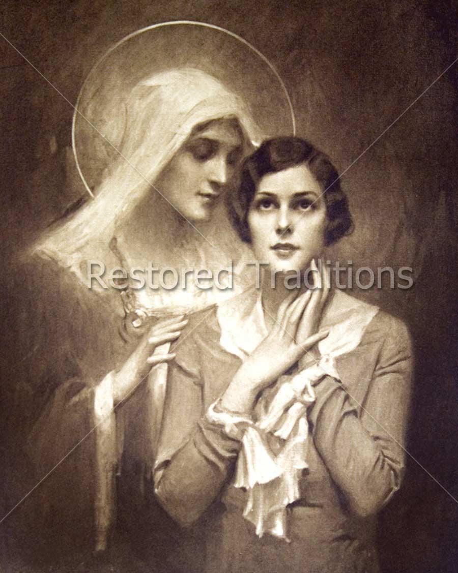 Mary whispering to girl