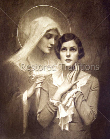 Virgin Mary Whispering to Young Woman