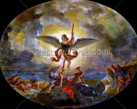 Archangel Michael Crushing Lucifer