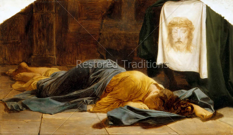 Woman sleeping on floor near image of Jesus