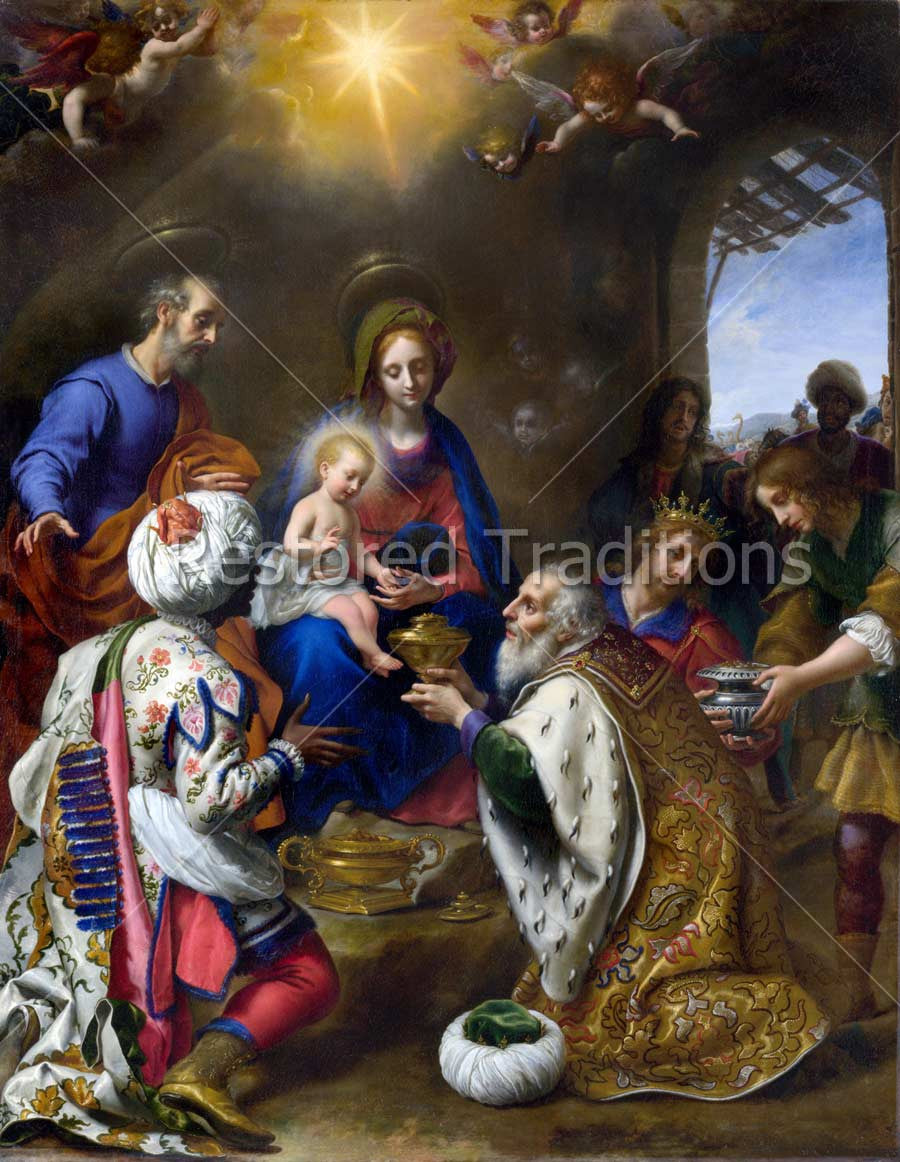 Three Kings on Epiphany Giving Gifts to Christ Child