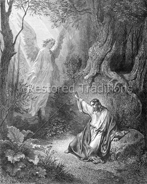 Black and White Illustration of Angel Comforting Christ in Gethsemane