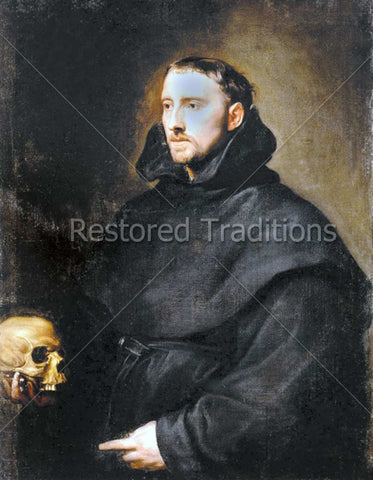 Catholic Monk Holding Skull