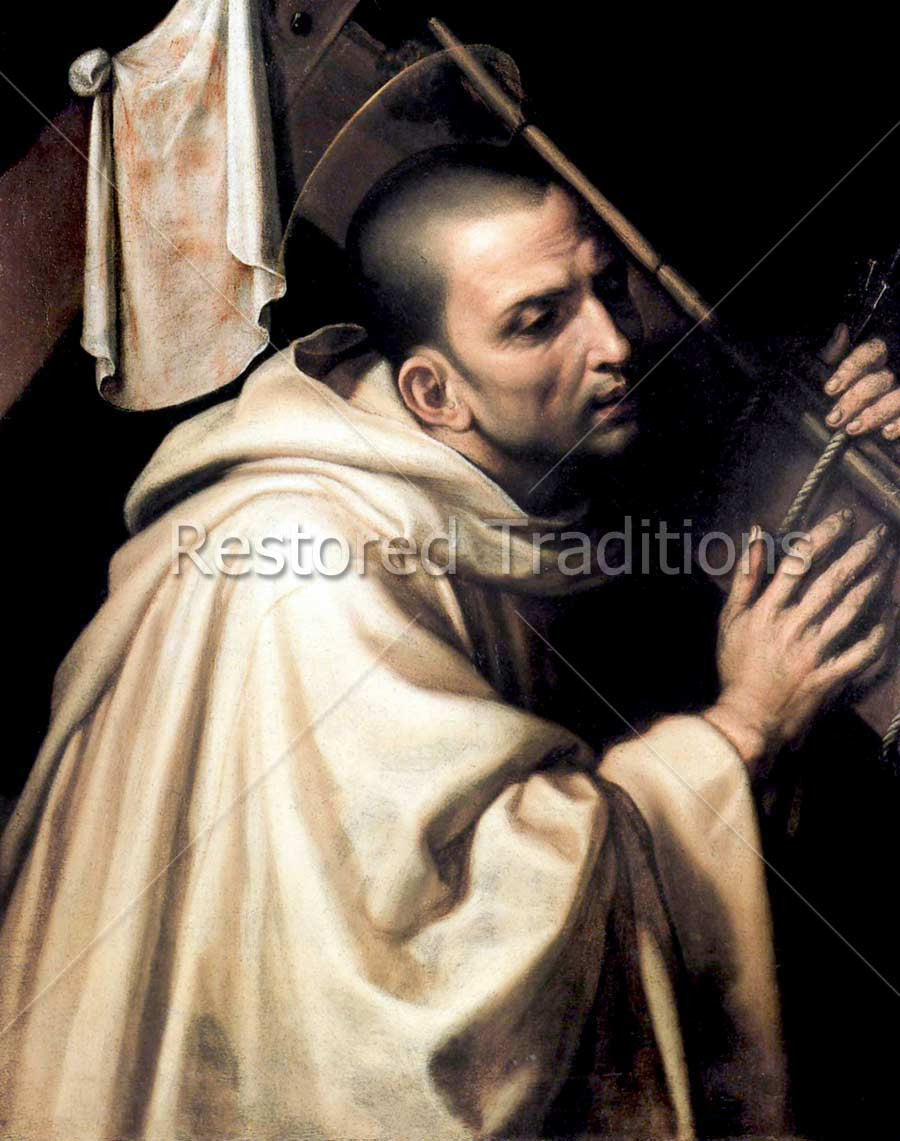 Saintly monk carrying cross of Christ