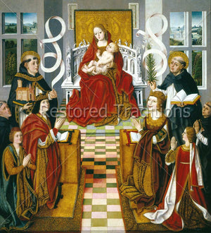 Enthroned Mary With Jesus and Saints