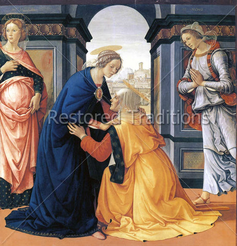 Elizabeth Kneeling in Homage Before Virgin Mary