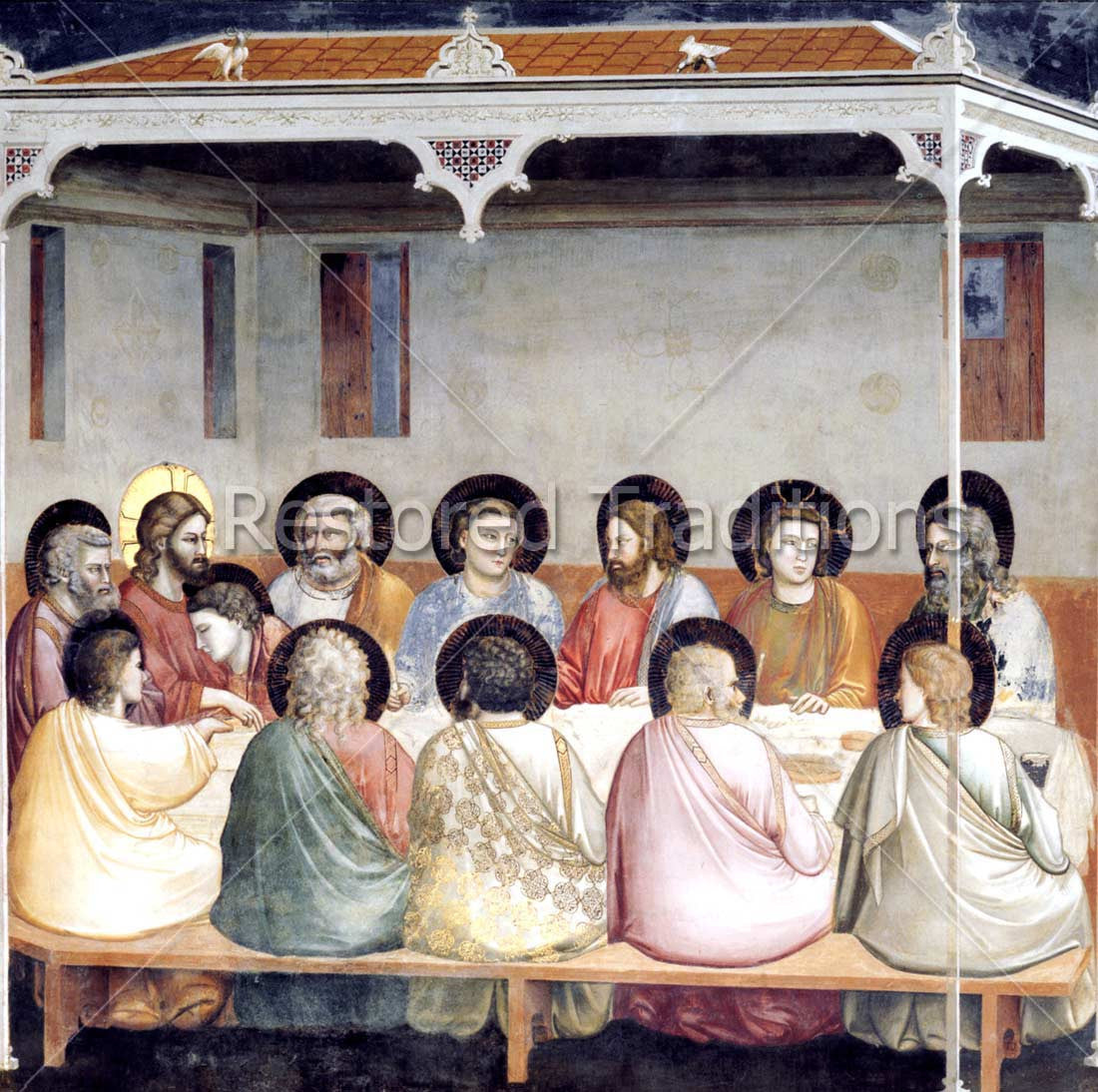 high res art last supper of jesus apostles by artist giotto bondone