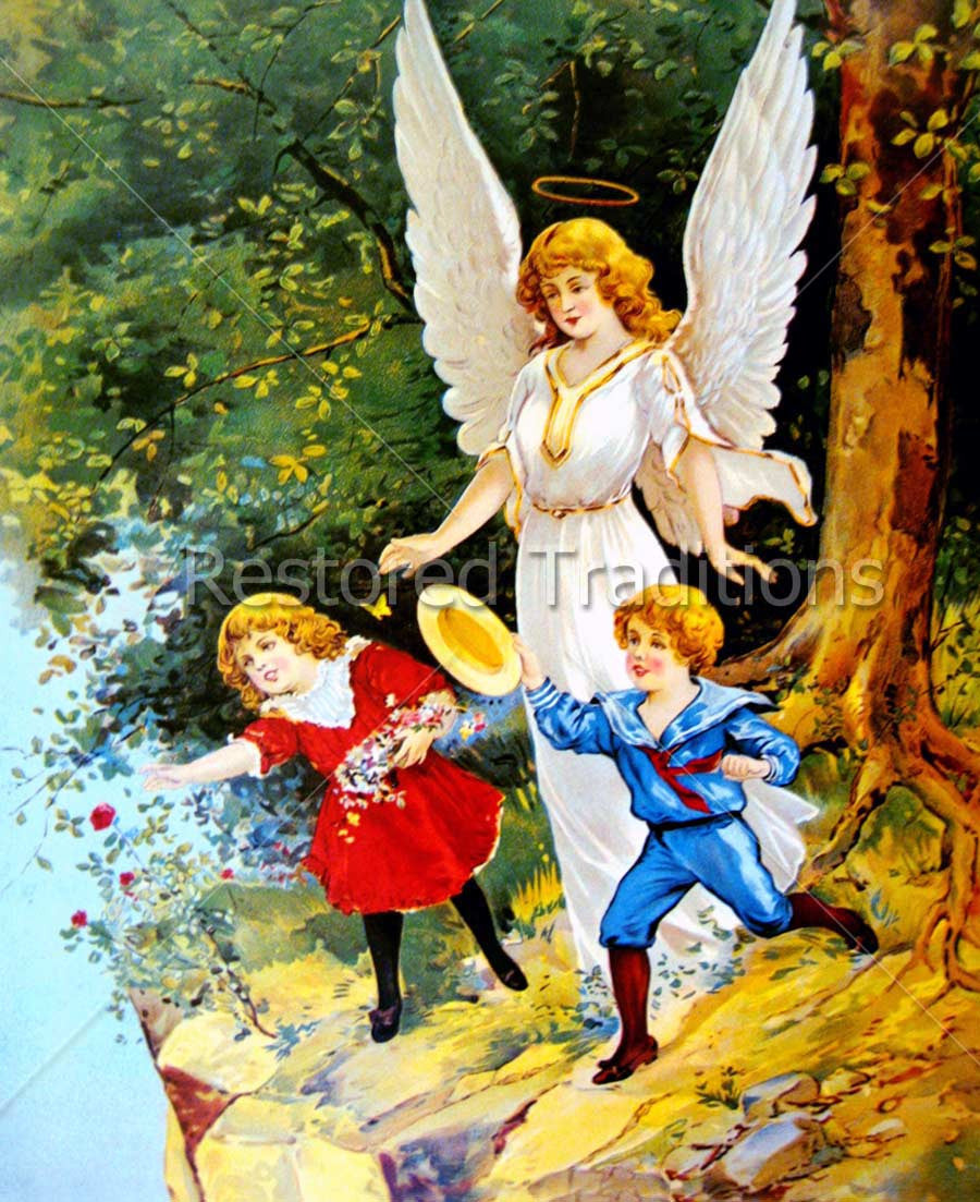Stock Art Guardian Angel Protecting Children At Cliff Edge