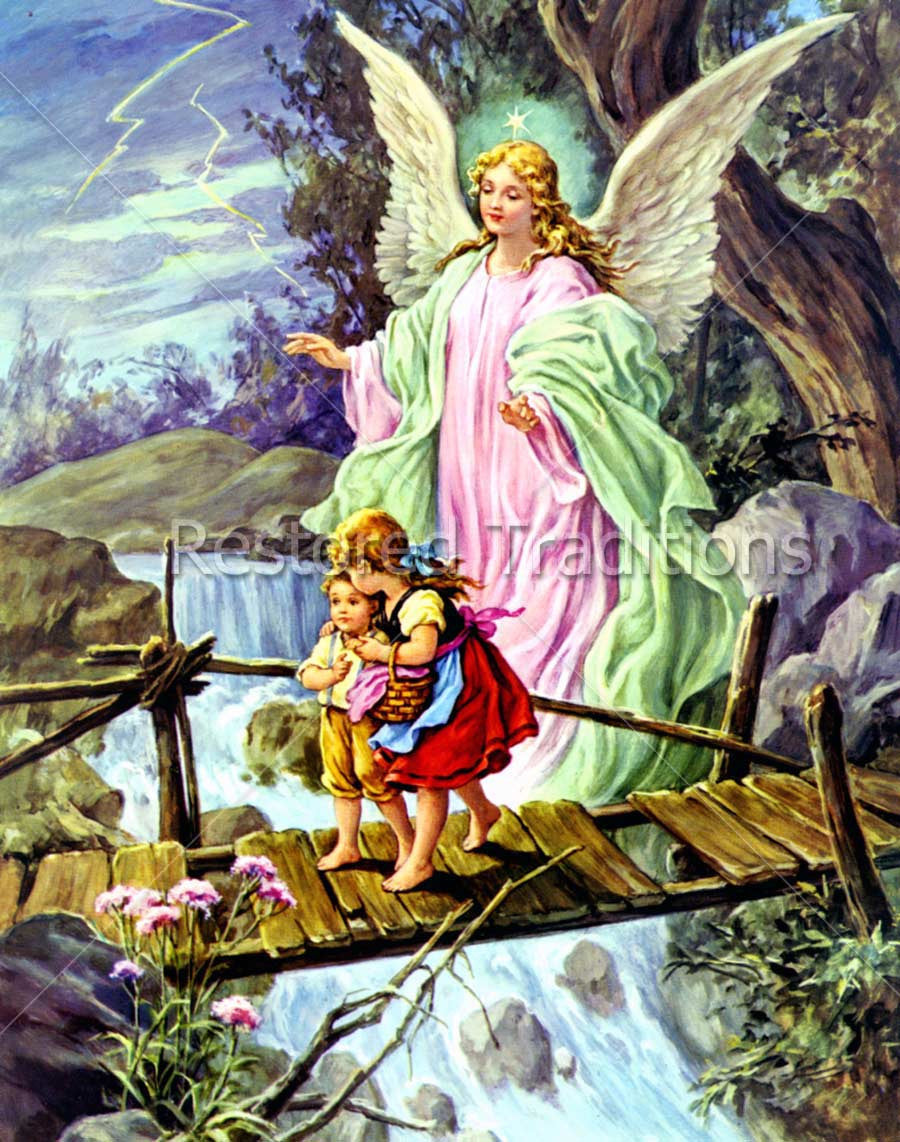 Stock Art Image Guardian Angel Guiding Children Over Bridge