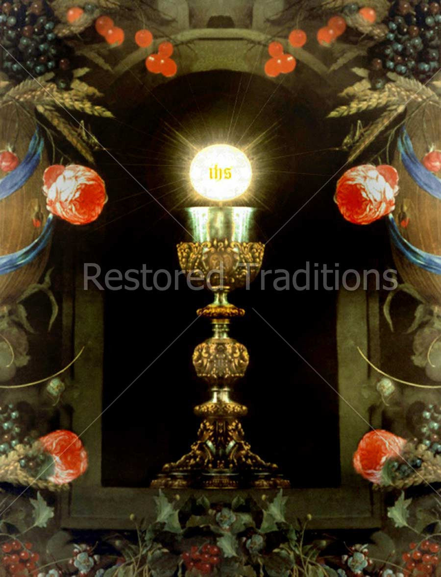 Host and Chalice Surrounded by Flowers