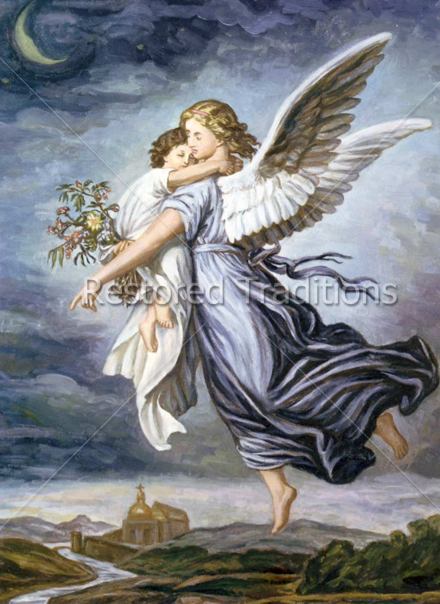 Flying Angel Carrying Sleeping Child Royalty Free Image
