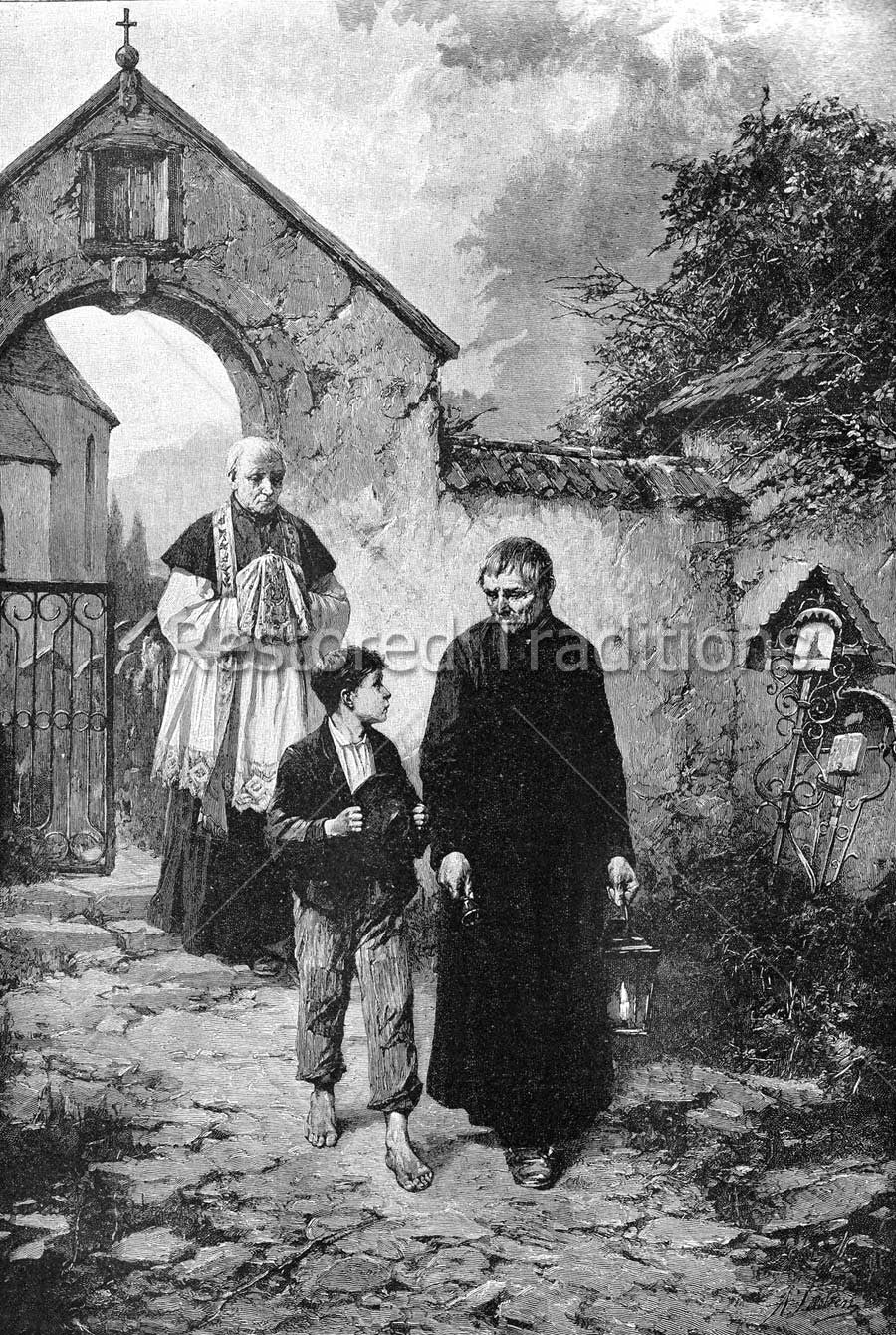Priest Walking with Boy