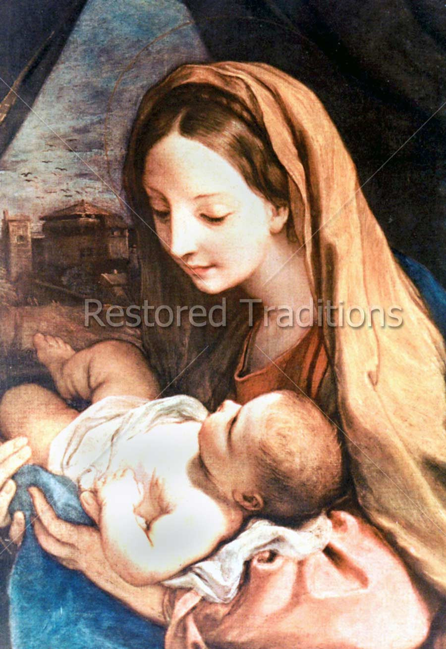 Mother Mary Holding Baby Jesus