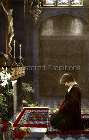 Medieval Woman Praying Before Altar