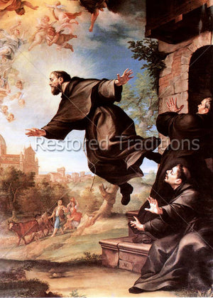 Holy Franciscan rising in air