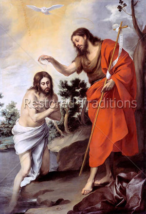Jesus in Jordan River and John the Baptist