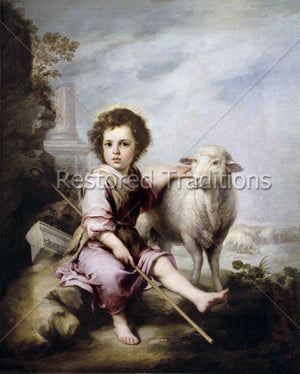 child with lamb and stick