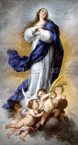 Mother Mary Surrounded by Cherubs