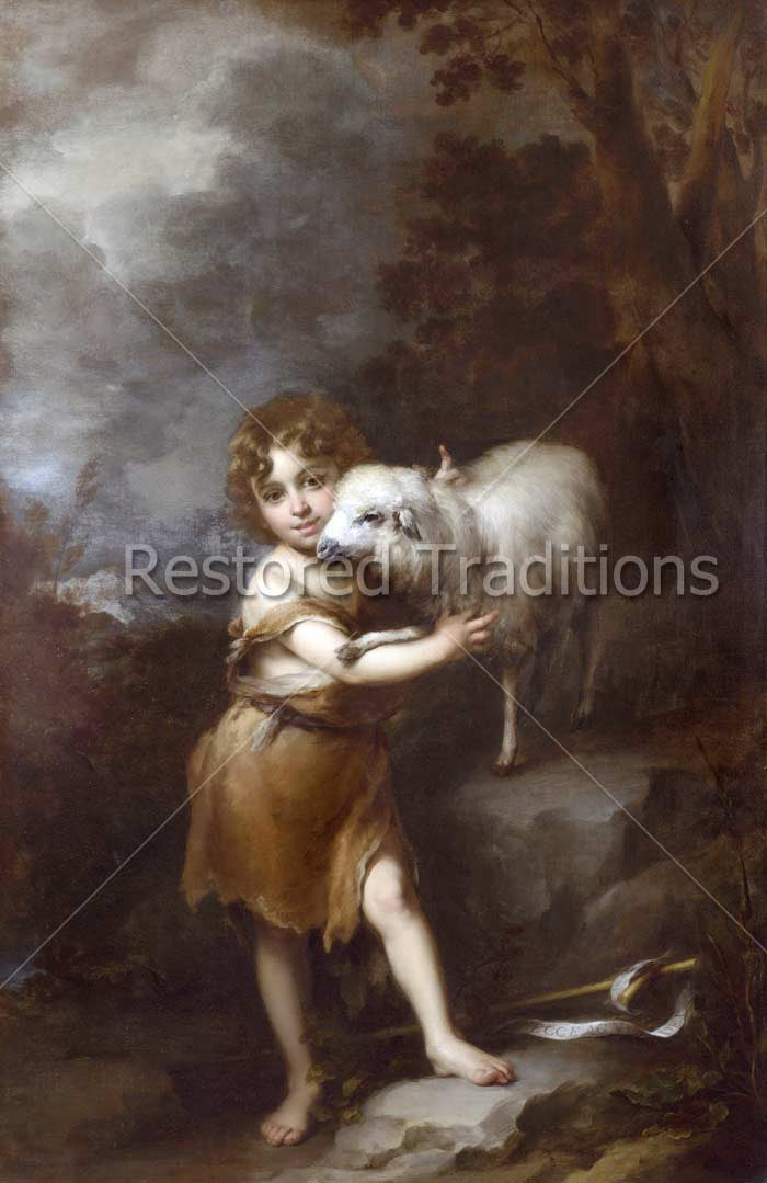 Child Holding White Lamb