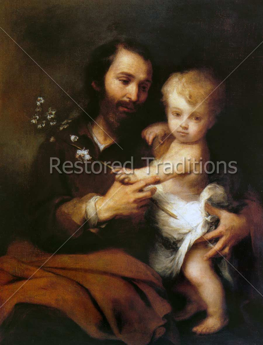 high res murillo image of st joseph holding jesus christ as a