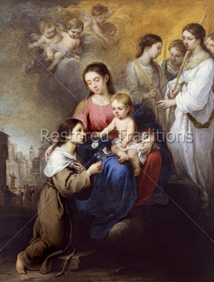 St. Rosalia Hands Flower to Jesus