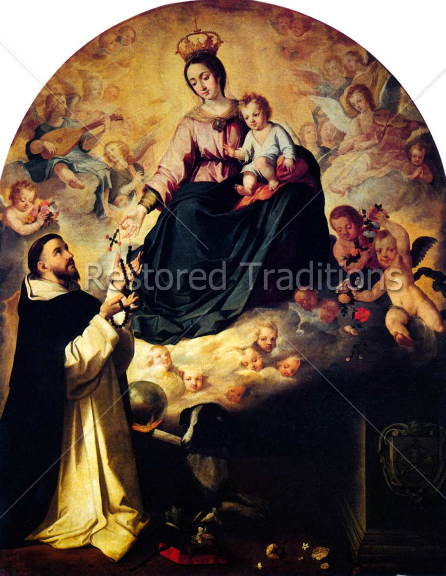Madonna Hands Rosary to St. Dominic