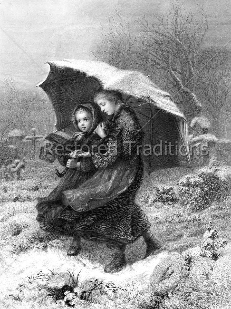 Girls Walking in Cemetery in Storm